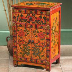 Vintage Painted Four-door Cabinet From Tibet Numerous In Variety Antiques Asian Antiques