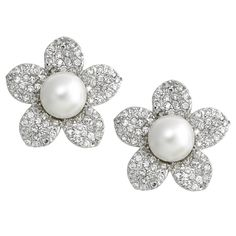 Pave Flower with White Pearl Center Earrings