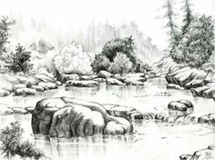 Landscape Sketch Nature Pencil Drawings 15 New Ideas Pencil Drawings Of Nature, Landscape Pencil Drawings, Drawing Rocks, Pencil Sketch Drawing, Landscape Sketch, Pencil Drawing Tutorials, Nature Drawing, Realistic Drawings, Art Drawings Sketches