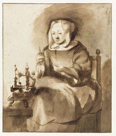 Woman spinning, Gerbrand van den Eeckhout, 1653 - 1657.  brush in brown, h 169mm × w 143mm.