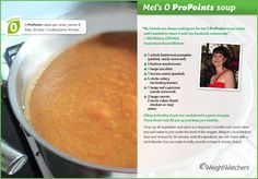 A healthy winter warming soup that is 0 ProPoints Slimming Recipes, Ww Recipes, Soup Recipes, Great Recipes, Cooking Recipes, Favorite Recipes, Pumpkin Soup, Weight Watchers Menu