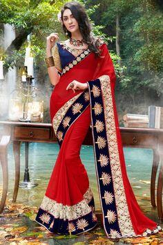 Fantastic Chiffon Red Partywear Saree