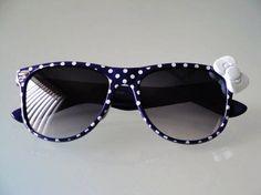 Polka Dot Nerd Sunglasses with Bow - Navy Blue Frames #polka #dot #sunglasses www.loveitsomuch.com