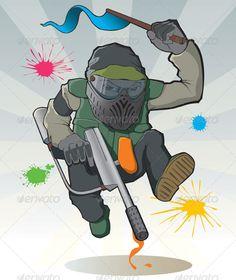 Paintball Master — AI Illustrator #vector illustration #gun • Available here → https://graphicriver.net/item/paintball-master/147720?ref=pxcr