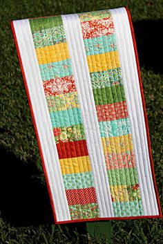 leftovers table runner with straight quilting