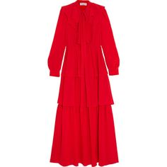 Sonia Rykiel Tiered ruffled silk crepe de chine maxi dress (50 610 UAH) via Polyvore featuring dresses, red, red dress, ruffle tiered maxi dress, red tiered dress, layered ruffle dress и crepe de chine dress