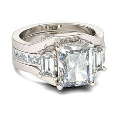 Interchangeable Three-stone Emerald Cut White Sapphire Rhodium Plated Sterling Silver Women's Engagement Ring