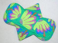"8"" Heavy - Green Floral - Reusable Cloth Menstrual Pad (8HC)"