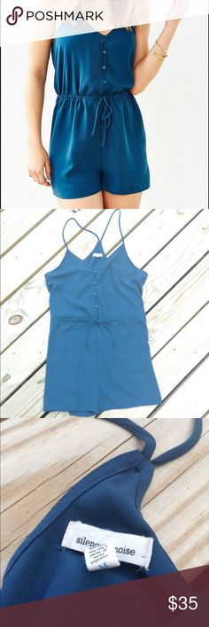 SILENCE + NOISE BLUE BUTTON ROMPER SIZE MEDIUM Super cute blue romper from Urban Outfitters. Great condition. Size medium silence + noise Dresses