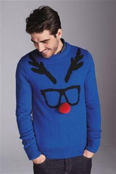 Blue Geek Reindeer Crew...an idea for ugly sweater?