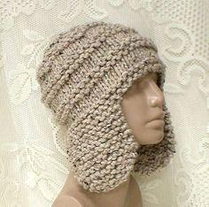 0f3b3ff8d842ff Oatmeal tweed ear flap hat trapper cap mens womens winter hat oatmeal  beanie hat toque mens womens knit hat chunky knit hat ski toboggan hat