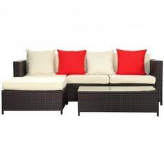 Espresso White Modern Strand Outdoor Patio Sectional Sofa Set - Patio - Office/Patio