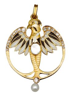 This Art Nouveau eagle pendant was made in Paris around 1910. Isn't it fabulous? (Via 1stdibs.)