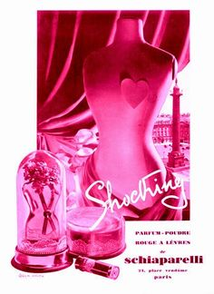 """Her best-known perfume was """"Shocking!"""" (1936), contained in a bottle sculpted by Leonor Fini in the shape of a woman's torso inspired by Mae West's tailor's dummy and Dalí paintings of flower-sellers. The packaging, also designed by Fini, was in shocking pink, one of Schiaparelli's signature colors which was said to have been inspired by Daisy Fellowe's 'Tête de Belier' (Ram's Head) pink diamond from Cartier. The fragrance was re-launched in 1998."""