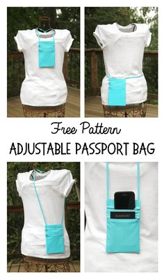 Sewing Machines Tutorial: Adjustable passport travel bag - This small bag is perfect for travel! Staci from Crafty Staci has a tutorial showing how to make one. There are two zip pockets – one to hold your phone, the other to hold your passport or … Bag Pattern Free, Wallet Pattern, Sewing Patterns Free, Free Sewing, Sewing Hacks, Sewing Tutorials, Tutorial Sewing, Leftover Fabric, Sewing Projects For Beginners
