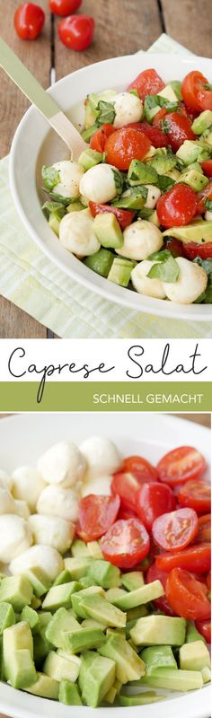 Schneller Low Carb Caprese-Salat mit Avocado, Tomaten und Mozzarella – Gaumenfre… Quick low carb caprese salad with avocado, tomatoes and Veggie Recipes, Salad Recipes, Dinner Recipes, Cooking Recipes, Caprese Salat, Ensalada Caprese, Healthy Snacks, Healthy Eating, Healthy Recipes