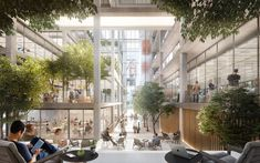 Foster + Partners Design Open Office Building in Luxembourg,Belval Office Building. Image Courtesy of Foster + Partners Library Architecture, Architecture Office, Landscape Architecture, Landscape Design, Architecture Design, Open Office, Beaux Arts Lyon, Atrium Design, Backyard Office