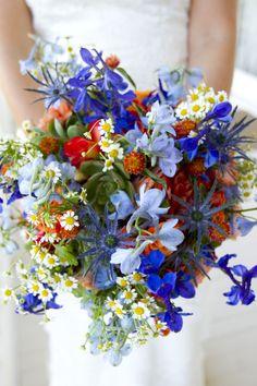 wild garden flowers with succulents