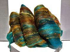 Kupfer Rost varuna handcarded batt set for spinning felting by yarnshine