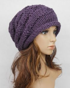 Slouchy woman handmade knitting hat purple clothing cap. Too cute for the Fall