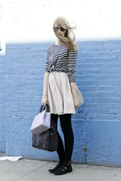 I like the black tights under what is otherwise a spring/summer outfit.