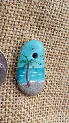 Handpainted beach scene on ocean stone pebble by UpwardOverTheMtn