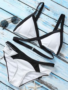 $18.49 Strappy Color Block Banded Bikini Set - WHITE L
