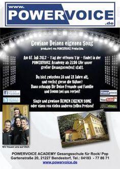 Gewinne Deinen eigenen Song - Tag der offenen Tür - Der Berg ruft - 07. Juli 2012  in der @POWERVOICE ACADEMY in Bendestorf