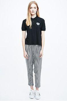 Urban Renewal Vintage Surplus Loveheart Polo Shirt in Black