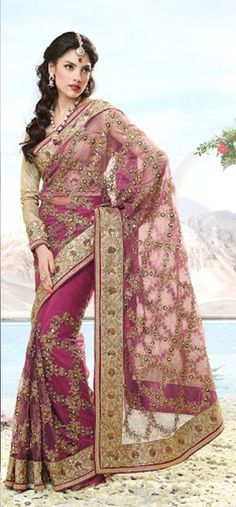 #Pink & #Gold #Saree - £190.00. For full information visit: http://www.reevaonline.co.uk/sarees/pink-shade-net-sare-with-blouse-fabric.html