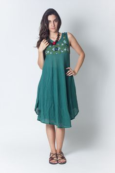 New to NaniFashion on Etsy: Teal Short sleeveless Cotton Women Dress with Hand Made Embroidery (DR191) / Summer Dress / Hand Made Embroidery / Boho / Hippie (36.99 USD)