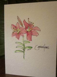 More Lilies Watercolor card