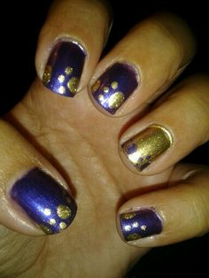 Purple and gold nail design #bearcats #pawprints