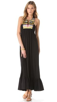 Tbags Los Angeles Maxi Dress with Embroidered Bib