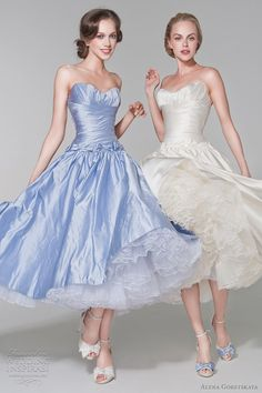 Barbie short wedding dresses with frilly petticoat, in white and blue.  Alena Goretskaya 2012 ready-to-wear bridal collection