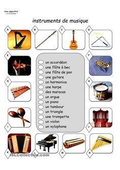 fiche vocabulaire les instruments de musique Learning French For Kids, Teaching French, Music Education, Kids Education, French Lessons For Beginners, French Worksheets, French Classroom, French Resources, Mardi Gras