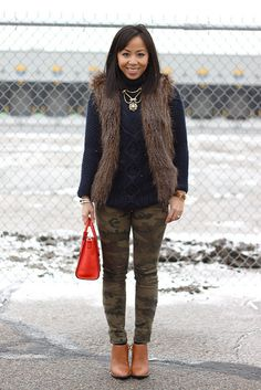 sweater & pants (similar): Zara | fur vest: DIY | shoes: Elizabeth & James-Shane boots (buy here, here & here) | bag: Celine nano luggage tote (similar) | bracelets: Yurman (7mm in onyx & pearl), Saks & DIY gift from Elisharon | necklace: AT (old)