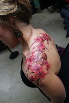 Cherry Blossom Tattoo On Shoulder; getting something similar to this!