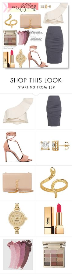 """Chic white ruffled top"" by pengy-vanou on Polyvore featuring Isabel Marant, Nicole Miller, Pierre Hardy, Yves Saint Laurent, Madina Visconti di Modrone, Shinola, Gucci, Stila, polyvoreeditorial and polyvorecontest"