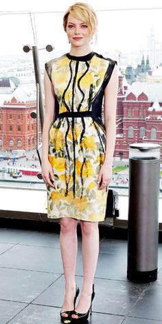 ece82007f83b Stone styled her painterly Lanvin print dress with smoky Nikki Baker  chandelier earrings