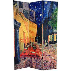 Canvas 6-foot Cafe Terrace/ View of Arles Room Divider (China)
