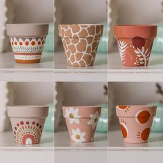Painted Plant Pots, Painted Flower Pots, Clay Flower Pots, Decorated Flower Pots, Pots D'argile, Pottery Painting Designs, Diy Painting, Painting Clay Pots, Clay Crafts