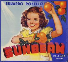 Shop KRW Vintage Sunbeam Orange Fruit Crate Label Poster created by KRWOldWorld. Personalise it with photos & text or purchase as is! Vintage Food Labels, Vintage Cards, Vintage Signs, Vintage Stuff, Vintage Books, Vintage Artwork, Vintage Posters, Orange Crate Labels, Famous Artwork