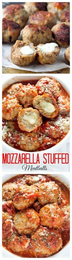30-Minute Mozzarella Stuffed Turkey Meatballs with Homemade Marinara Sauce