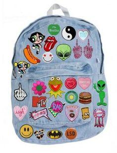 Bag: backpack patch kawaii grunge pastel fashion back to school. Mochila Grunge, Hipster Rucksack, Hipster Bag, Rucksack Bag, Backpack Bags, Denim Backpack, Backpack With Patches, Bag Patches, Faith