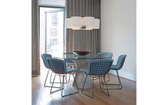 Bertoia Side Chair, Chrome frame with white cushion