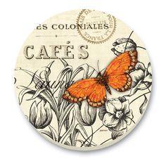 2 Vintage Floral Butterfly Tile Trivets