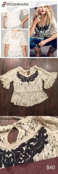 Free People Lace Peplum Free People Lace Peplum Top.  Black embroidery detailing.  Gorgeous! Free People Tops