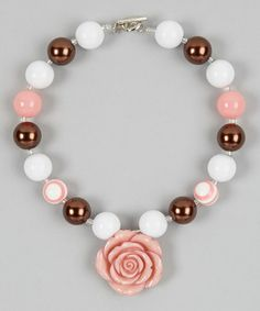Take a look at this Pink & Bronze Rose Bead Necklace by Whitney Elizabeth on #zulily today!