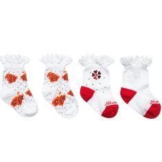 Baby Girls White & Red Lace Socks (2 Pack), Monnalisa, Girl